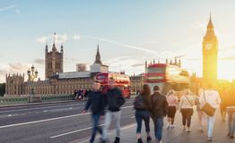 Big Ben, Westminster Bridge and red double decker bus in London,. View of  the Houses of Parliament and Big Ben over the westminster bridge at sunset in london Stock Images
