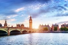 Big Ben, Westminster Bridge on River Thames in London, the UK at sunset Royalty Free Stock Photo