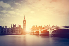 Big Ben, Westminster Bridge on River Thames in London, the UK. Vintage Royalty Free Stock Photography