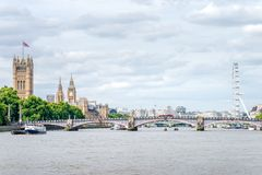 Big Ben, Westminster Bridge, Riverside View By The River Thames Royalty Free Stock Photography