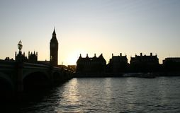 Big Ben and Westminster Bridge at sunset Royalty Free Stock Image