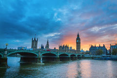 Big Ben and Westminster Bridge at sunset Stock Photos