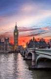 Big Ben and Westminster Bridge during sunset Stock Image