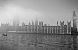 Big Ben and Westminster fog Stock Photos