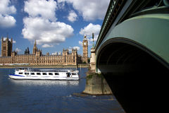 Big Ben , Westminster, London. Big Ben with tourist boat, London, UK Stock Photos