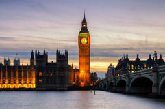 Big Ben, Westminster, London, after colorful sunset Royalty Free Stock Photo