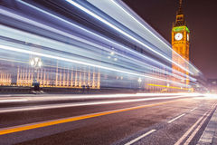 Big Ben Westminster in London at night with traffic light trails. Iconic view of Westminster in London Stock Photography
