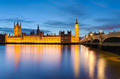 Big Ben and Westminster, London. Big Ben and the Palace of Westminster at sunset in London, UK Royalty Free Stock Photo