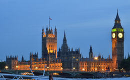 Big Ben and Westminster  at night across the river thames. Royalty Free Stock Image