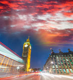 Big Ben and Westminster Palace colors at sunset, London Stock Images