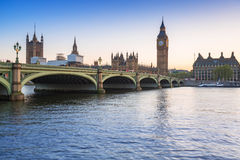 Big Ben and Westminster Palace in London at sunset Stock Photo