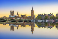 Big Ben and Westminster Palace in London at sunset Royalty Free Stock Photos
