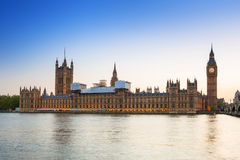 Big Ben and Westminster Palace in London at sunset Royalty Free Stock Images