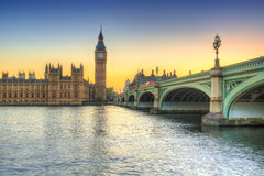 Big Ben and Westminster Palace in London at sunset Stock Photography