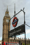 Big ben and Westminster station Royalty Free Stock Photography