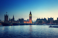Big Ben and Westminster at sunset, London Royalty Free Stock Photography