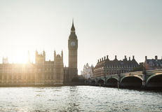 Big Ben and Westminster at sunset, London Stock Photo