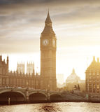 Big Ben and Westminster at sunset, London Royalty Free Stock Images