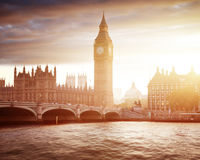 Big Ben and Westminster at sunset, London Stock Image