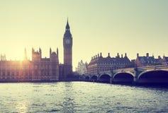 Big Ben and Westminster at sunset, London, UK Royalty Free Stock Photos