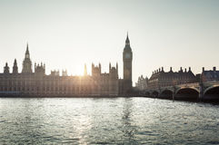 Big Ben and Westminster at sunset, London, UK Royalty Free Stock Photos