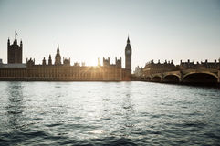 Big Ben and Westminster at sunset, London, UK Stock Images