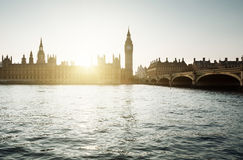 Big Ben and Westminster at sunset, London, UK Royalty Free Stock Photography