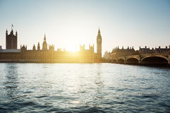 Big Ben and Westminster at sunset, London, UK Stock Image