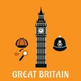 Big Ben wierza i inni Britain przedmioty Obraz Royalty Free
