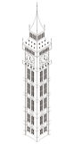 Big Ben wierza isometric, odosobniony, Obraz Stock