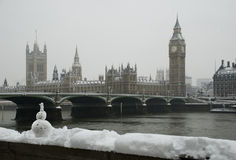 Big Ben winter snowfall Royalty Free Stock Image