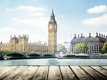 Big Ben and wooden surface, London Stock Photo
