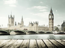 Big Ben and wooden surface, London Royalty Free Stock Photo