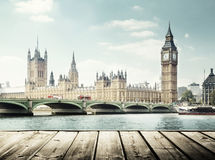 Big Ben and wooden surface, London Royalty Free Stock Image