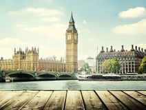 Big Ben and wooden surface, London royalty free stock photography