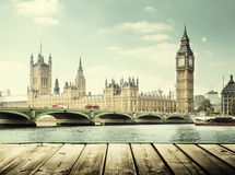 Big Ben and wooden surface royalty free stock photography