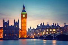 Big Ben y puente de Westminster, Londres Foto de archivo