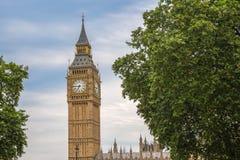 Big Ben z drzewami, Londyn, UK Zdjęcia Royalty Free