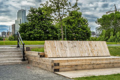 Big benchs beside Lachine Canal. The Lachine Canal Canal de Lachine in French is a canal passing through the southwestern part of the Island of Montreal, Quebec stock image