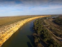 Big Bend on Murray River near Nildottie. Aerial view of murray river cliffs at big bend near nildottie in murray darling basin on edge of mallee and drought Stock Images