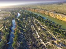 Big Bend on Murray River near Nildottie. Aerial view of murray river cliffs at big bend near nildottie in murray darling basin on edge of mallee and drought Stock Image