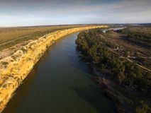 Big Bend on River Murray near Nildottie. Aerial view of river murray cliffs at big bend near nildottie in murray darling basin on edge of mallee and drought Royalty Free Stock Image