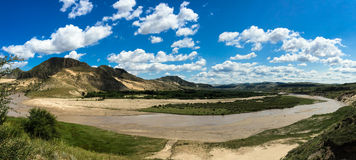 A big bend river to Prairie  in Inner Mongolia Royalty Free Stock Photography