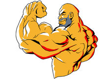 Big biceps. Illustration,color,logo, on a white Stock Photo