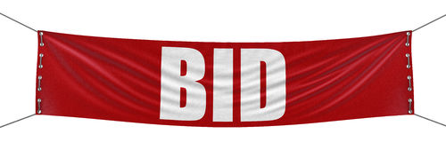 Big BID Banner Stock Image
