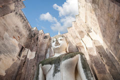 Big biddha statue in temple ruins of wat si chum sukhothai,Thailand Royalty Free Stock Image