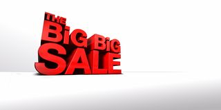 The Big Big Sale. CGI of Towering 3-Dimentional Text that reads The Big Big Sale Stock Images