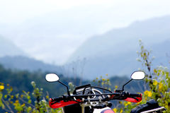 Big Bike and Mountain Royalty Free Stock Photos