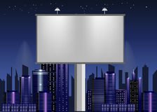 Big billboard advertisement commercial blank over night city Royalty Free Stock Images