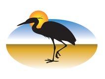 Big bird. A heron on the horizon Royalty Free Stock Photo